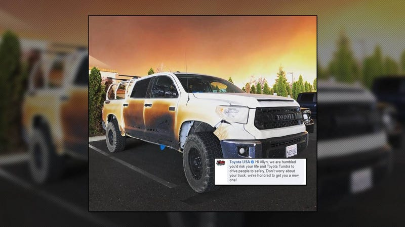 Illustration for article titled Toyota Replaces Nurse's Tundra After Heroic Fire Efforts