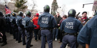 Protests against Michigan's right-to-work law (Getty Images)