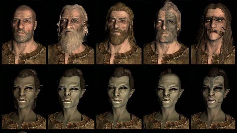 Illustration for article titled Twenty Different Faces For Each of Skyrim's Races
