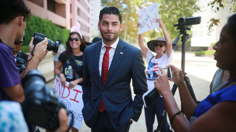Ammar Campa-Najjar, who is running against Congressman Duncan Hunter, speaks to reporters outside the San Diego Federal Courthouse during Congressman Hunter's arraignment hearing on Thursday, August 23, 2018 in San Diego, CA.