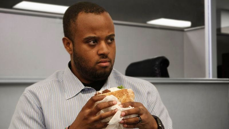 Illustration for article titled Man To Undergo Extensive Interrogation By Coworkers About Where He Got Falafel