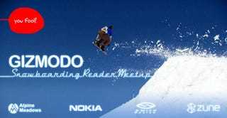 Illustration for article titled Snowboarding Reader Meetup Tomorrow: Custom Gizmodo Zune Giveaway