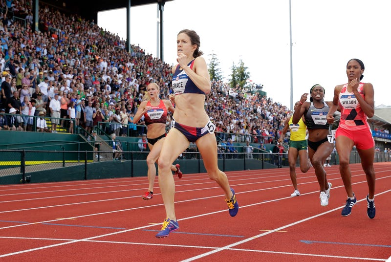 Kate Grace wins the women's 800 meters and will represent the US in Rio. Photo credit: Getty Images