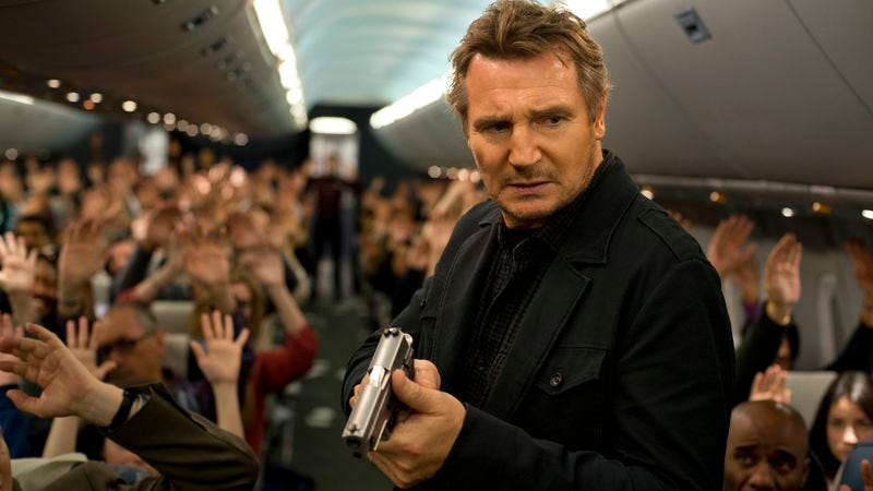 Illustration for article titled Liam Neeson hunts a hijacker in the mile-high mystery Non-Stop