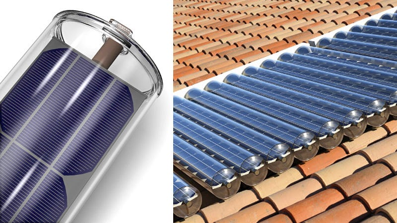 Solar Panel In A Tube Generates Power And Hot Water At The