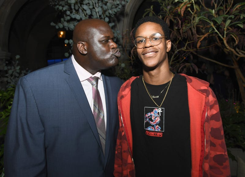 Former NBA player Shaquille O'Neal and son Shareef O'Neal on Aug. 7, 2017, in West Hollywood, Calif. (Emma McIntyre/Getty Images for Apple)