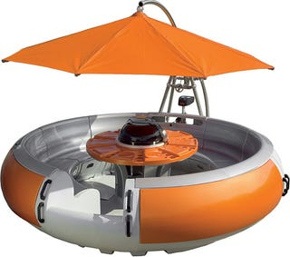 Irev the bumper boat with a built in grill theres no rational reason why i should want an irev a real boat would be way faster and much more versatile but the irev is a floating picnic table with watchthetrailerfo