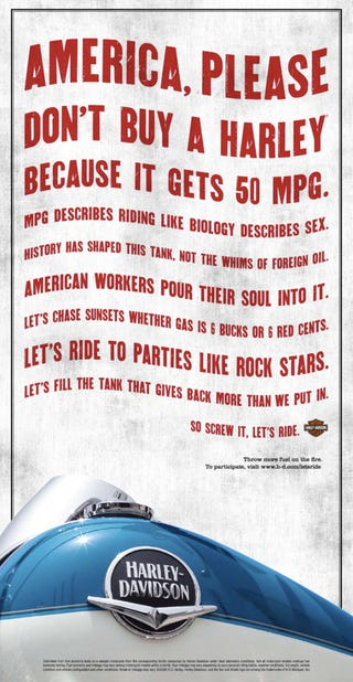 Illustration for article titled Harley-Davidson Says MPG Doesn't Matter To The True Rider