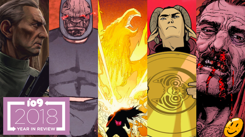 From left to right: General Tarkin, Darkseid, Jean Grey and the Phoenix, Marko, and the Comedian.