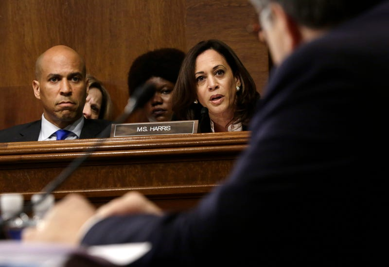 Sen. Kamala Harris (D-CA) speaks and Sen. Cory Booker (D-NJ) listens as U.S. Attorney General William Barr testifies before the Senate Judiciary Committee May 1, 2019 in Washington, DC. Barr testified on the Justice Department's investigation of Russian interference with the 2016 presidential election.