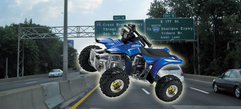 Illustration for article titled Drivers Save 6-Year-Old Boy Who Drove Toy ATV Onto Highway