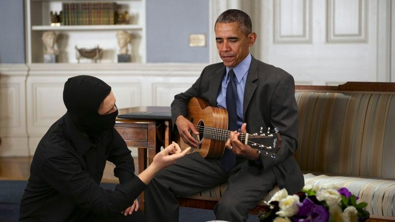 Illustration for article titled Security Failure: A Masked Intruder Broke Into The White House And Gave The President A Guitar Lesson