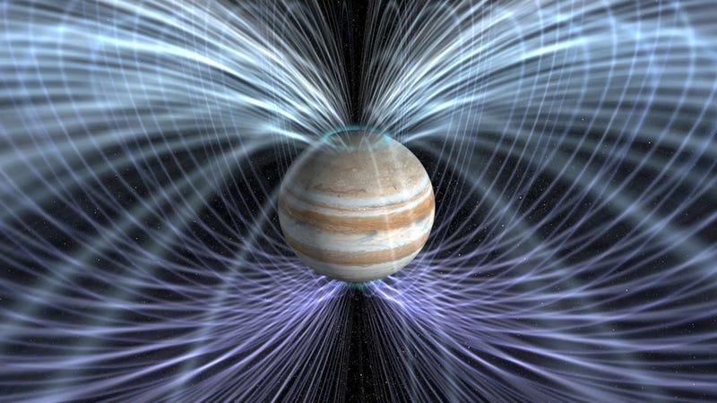 Representación artística de la magnetosfera de Júpiter. Imagen: NASA / JPL