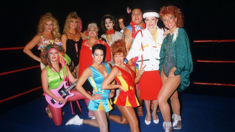 Members of GLOW pose for a promotional shot in 1988. (Photo: Getty Images)