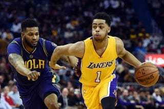 D'Angelo Russell of the Los Angeles Lakers (right)Stacy Revere/Getty Images