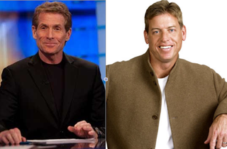"Illustration for article titled 15 Years After Skip Bayless Said Troy Aikman Might Be Gay, Aikman Fires Back With ""I'm Not So Sure Skip's Not Gay"""