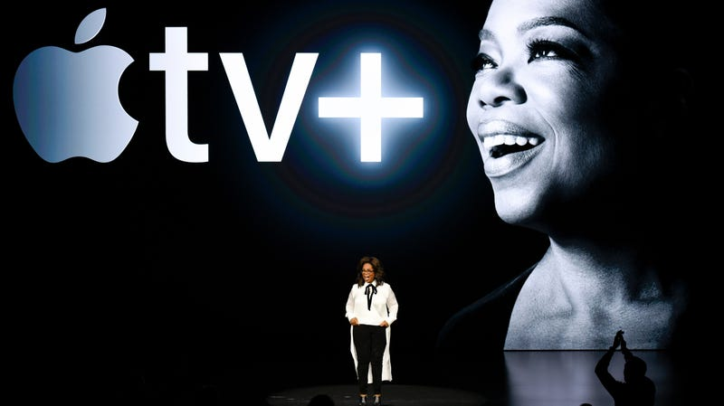 Oprah Winfrey speaks during an Apple product launch event at the Steve Jobs Theater at Apple Park on March 25, 2019 in Cupertino, California.