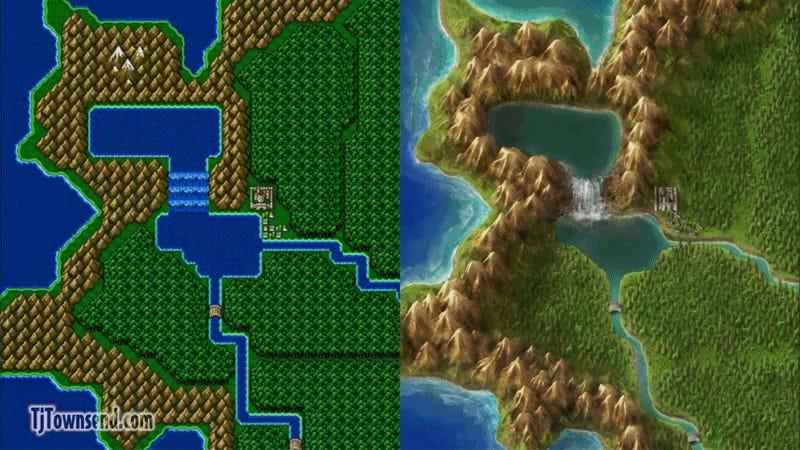 Final Fantasy Nes World Map.Artist Completely Redraws Final Fantasy Iv S World Map