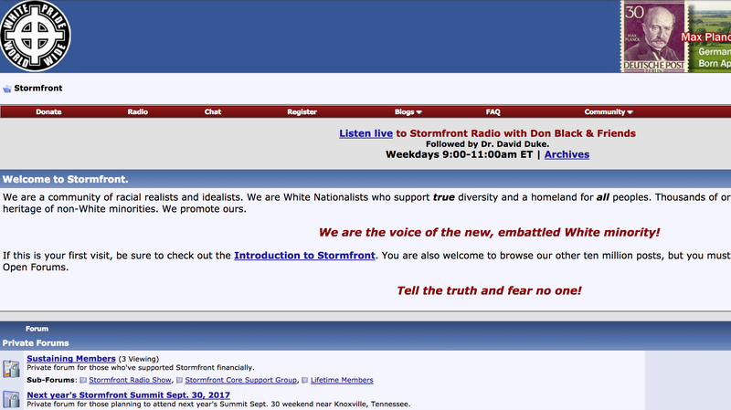 Neo-Nazi site Stormfront has been temporarily taken down