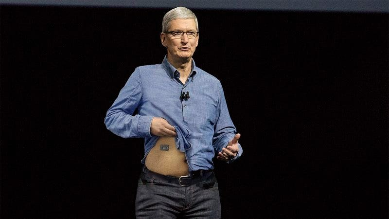 Illustration for article titled Power Play: Tim Cook Just Installed The Only iPhone 7 Headphone Jack Into His Abdomen