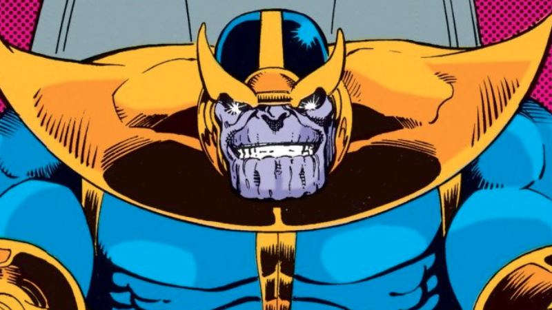 Thanos, as he appears on the first page of Silver Surfer #35.