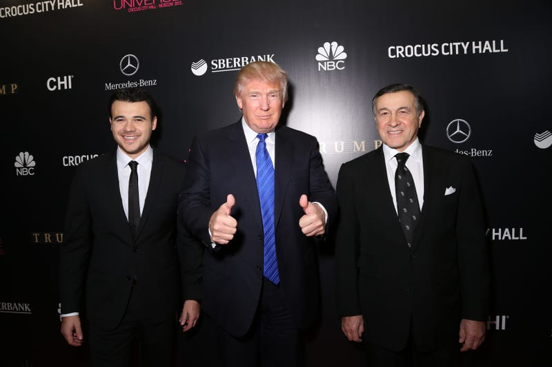 Emin Agalarov, Donald Trump and Aras Agalarov on the red carpet at the 2013 Miss Universe pageant Nov. 9, 2013, in Moscow (Victor Boyko/Getty Images)