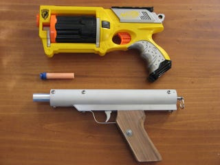Nerf guns are fun, but sometimes it's hard to use one without looking like  you're at an 8 year old's birthday party. One toy gun tinkerer, however, ...
