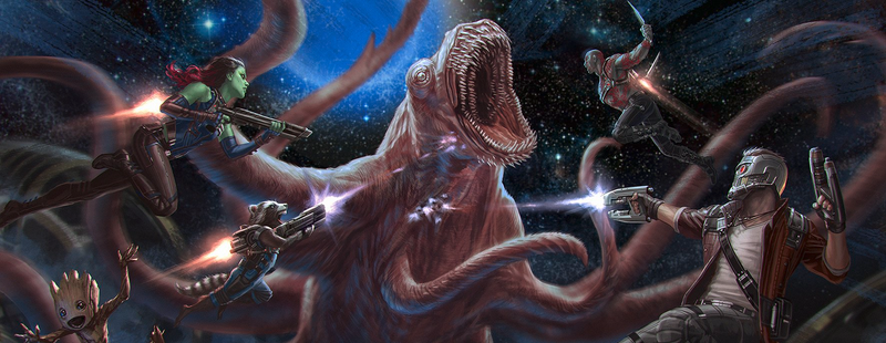 Illustration for article titled The Guardians of the Galaxy Battle a Giant Space Monster in New Sequel Concept Art