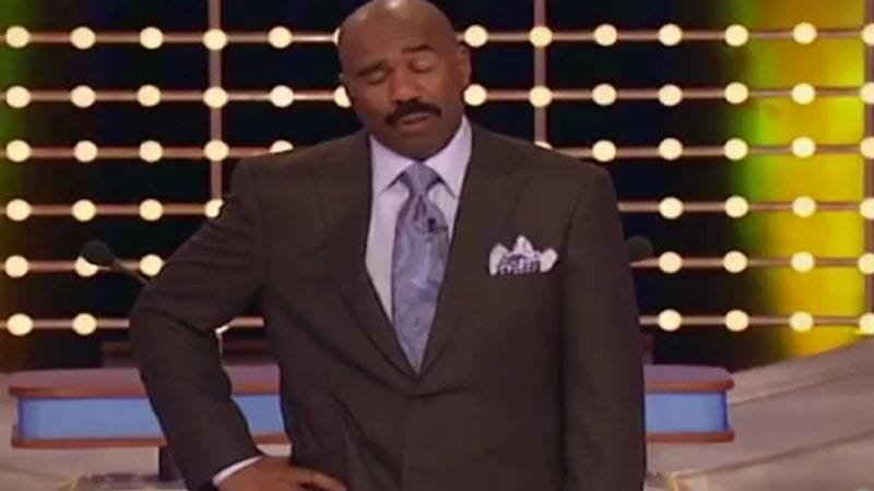 Illustration for article titled Steve Harvey has no patience for these smutty Family Feud contestants