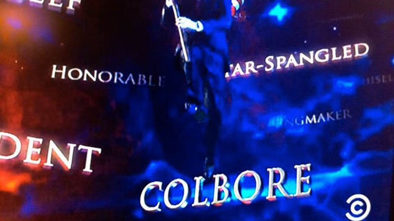 Illustration for article titled Gwen Stefani's Name Flub Gets Memorialized in Colbert Report Intro