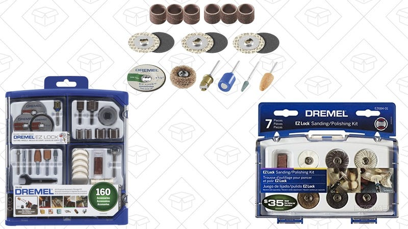 Dremel 710-08 All-Purpose Rotary Accessory Kit, 160-Piece | $23 | AmazonDremel EZ686-01 EZ Lock Sanding and Grinding Kit | $12 | AmazonDremel EZ684-01 EZ Lock Sanding And Polishing Kit | $12 | Amazon