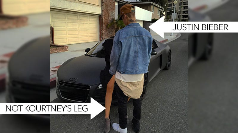 Illustration for article titled No, Justin Bieber Wasn't Straddling Kourtney Kardashian On the Hood of a Car