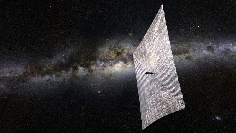 Illustration for article titled La vela solar ideada por Sagan para propulsar naves llega al espacio