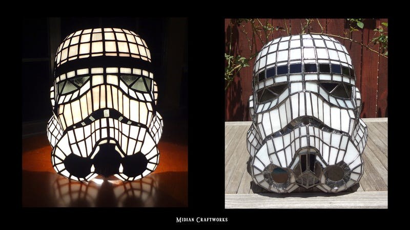 Illustration for article titled This Stained Glass Stormtrooper Helmet is actually a gorgeous Lamp