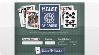 Illustration for article titled How Many Decks Would You Need To Build a Full-Sized House of Cards?