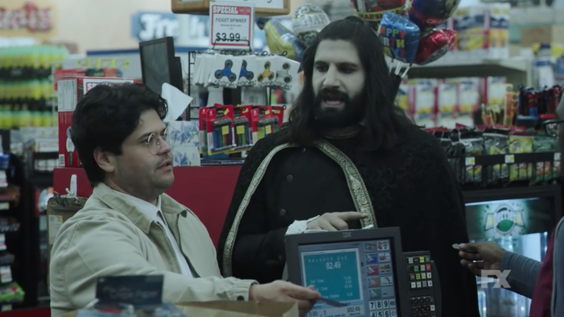 Kayvan Novak as Nandor the vampire, just trying to buy something in a store.