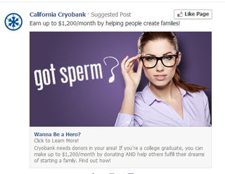 Illustration for article titled Any males got any sperm to give? Facebook wants to know!