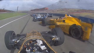 Hop Onboard As IndyCars Go Four-Wide On An Oval, Pass, Crash And Flip
