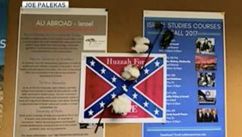 Confederate flags with cotton on them were posted around American University's campus