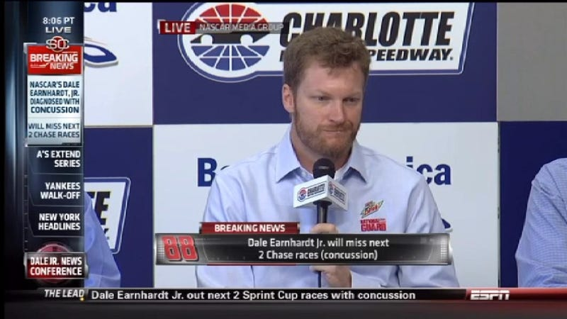 Illustration for article titled Dale Earnhardt, Jr. To Miss Two Chase Races After Suffering Concussion In Massive Talladega Wreck
