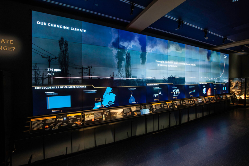 The new interactive climate change wall in the Hall of Planet Earth at the American Museum of Natural History.