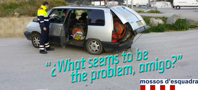 Illustration for article titled Cops Find Tractor Inside Minivan (UPDATE: Did Not Go 120 MPH)