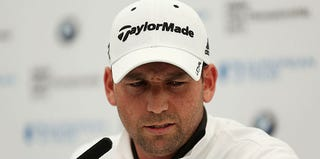 Golfer Sergio Garcia attends a press conference during the Pro-Am in the United Kingdom. (Warren Little/Getty Images)