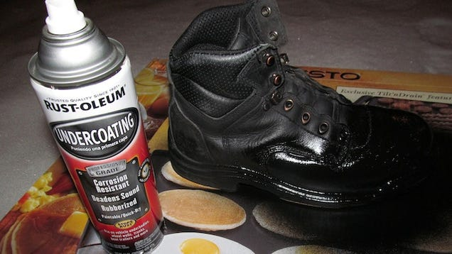 coat old boots in rust oleum for a cheap and dirty waterproofing. Black Bedroom Furniture Sets. Home Design Ideas