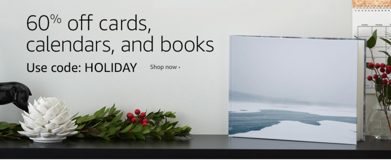 60% off Custom Photo Books, Cards, and Calendars. Promo code HOLIDAY.