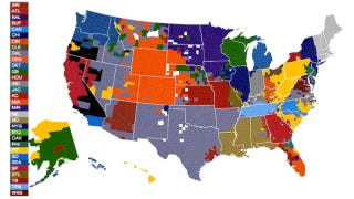 Illustration for article titled NFL fans by U.S. county, according to Facebook