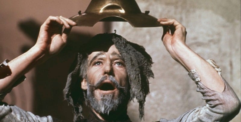 Peter O'Toole in the 1972 musical Man of La Mancha.