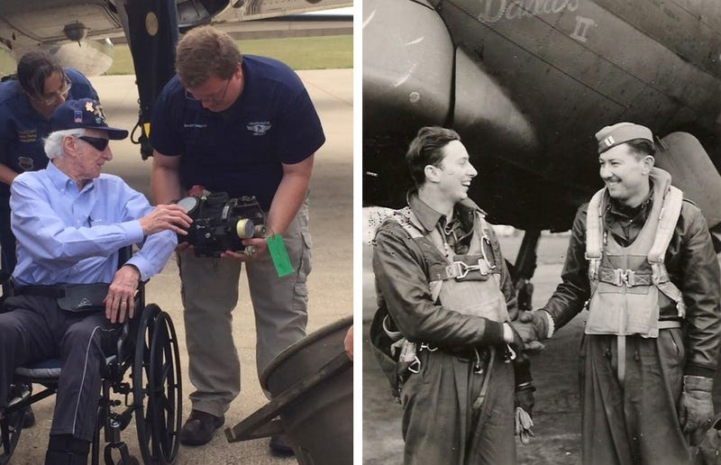 "John ""Lucky"" Luckadoo seen shaking hands on the left in each picture, who flew missions over Germany in the B-17 using Norden bombsight (Commemorative Air Force)"