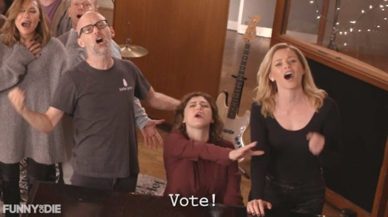 Illustration for article titled Rachel Bloom Gathers Famous Friends for Beautiful Anti-Trump Anthem 'Holy Shit (You've Got to Vote)'