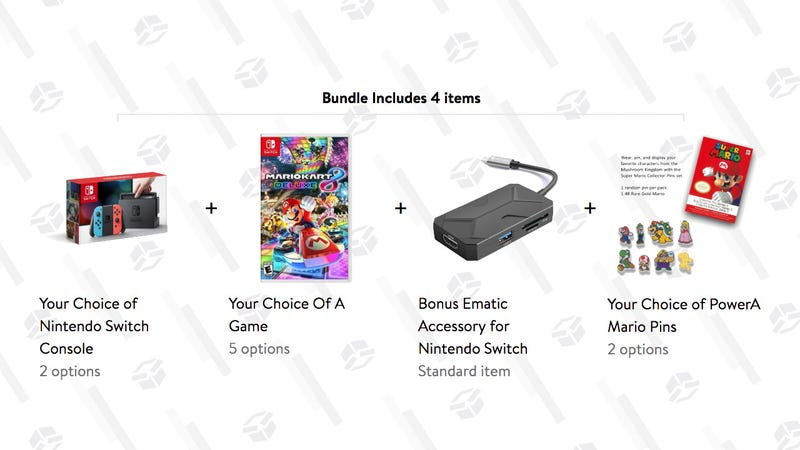 Nintendo Switch Bundle (Console, Game, Pins and USB-C Dongle) | $330 | Walmart